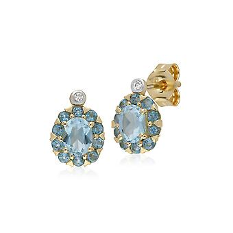 Gemondo 9ct giallo oro topazio azzurro & diamante ovale Cluster orecchini