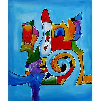 Abstrakt, oljemålning på duk, 50x60 cm