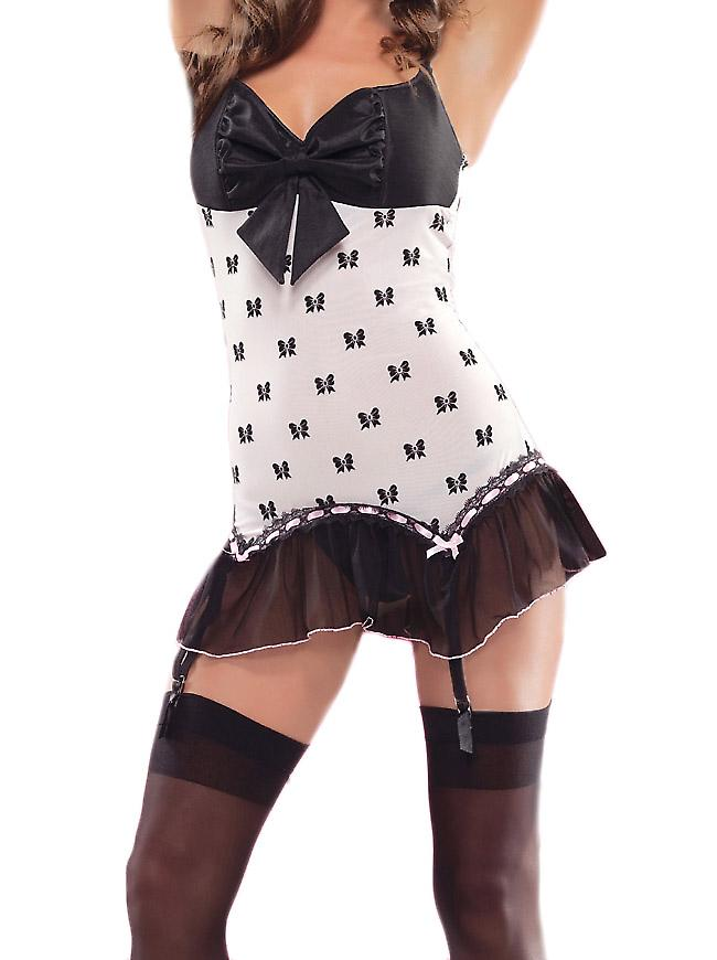 Waooh - Lingerie - Babydoll decorated with knots and suspenders