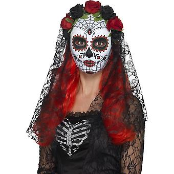 Day of the Dead Senorita Mask, Full Face, RED & BLACK
