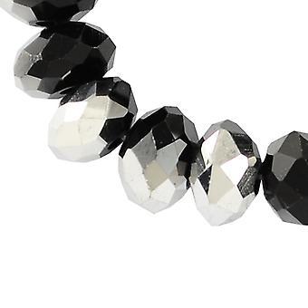 70 + أسود/الفضة التشيكية الكريستال الزجاج 8 × 10 مم رونديلي الوجوه الخرز HA20215