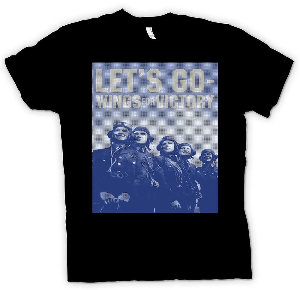 Womens T-shirt - Lets Go - Wings For Victory - RAF - Royal Airforce