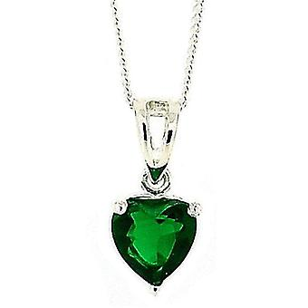 The Olivia Collection Silver Green CZ Heart 6mm Pendant On 18