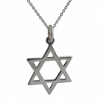 Silver 21x17mm plain Star of David Pendant with a rolo Chain 24 inches