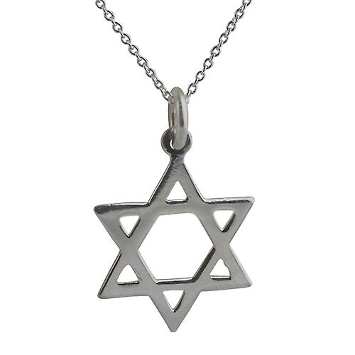 Silver 21x17mm plain Star of David Pendant with a rolo Chain 18 inches