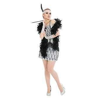 Womens 20s Silver Flapper Girl Gatsby Chicago Jazz Film Fancy Dress Costume