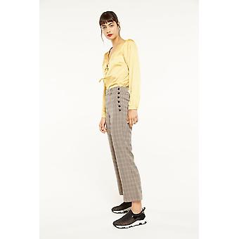 Side Party Check Wide Leg Trousers
