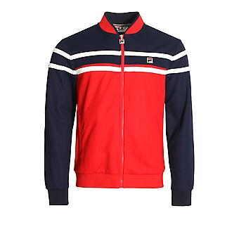 Fila Vintage Naso petto Stripe Track Jacket | Rosso cinese/Peacoat