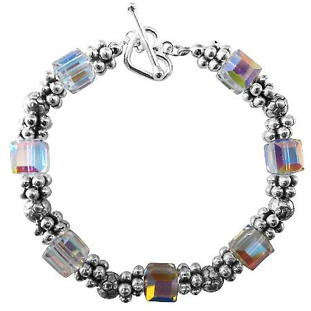 Swarovski AB Crystals Bracelets w/ Bali Silver Bead Heart Toggle Clasp