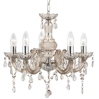 Marie Therese Mink fem ljus taklampa med akryl kristaller - Searchlight 1455-5MI