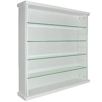 Exhibit - Solid Wood 4 Shelf Glass Wall Display Cabinet - White