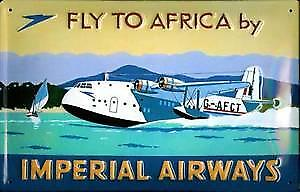 Imperial Airways Fly to Africa Metal Postcard / Mini Sign