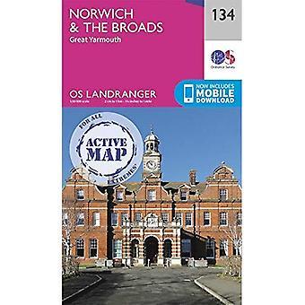 Norwich y los Broads: Great Yarmouth (OS Landranger mapa)