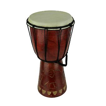 12 Inch Tall Carved Elephant Djembe Drum 6.5 Inch Diameter
