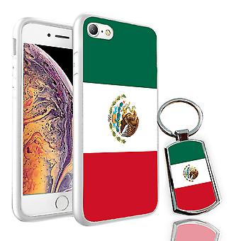 For LG Q6 - Mexico Flag Design Printed White Case Skin Cover + Free Metal Keyring - 0112 by i-Tronixs