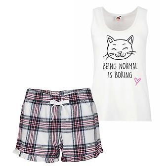 Cat Being Normal Is Boring Pink Tartan Pyjamas