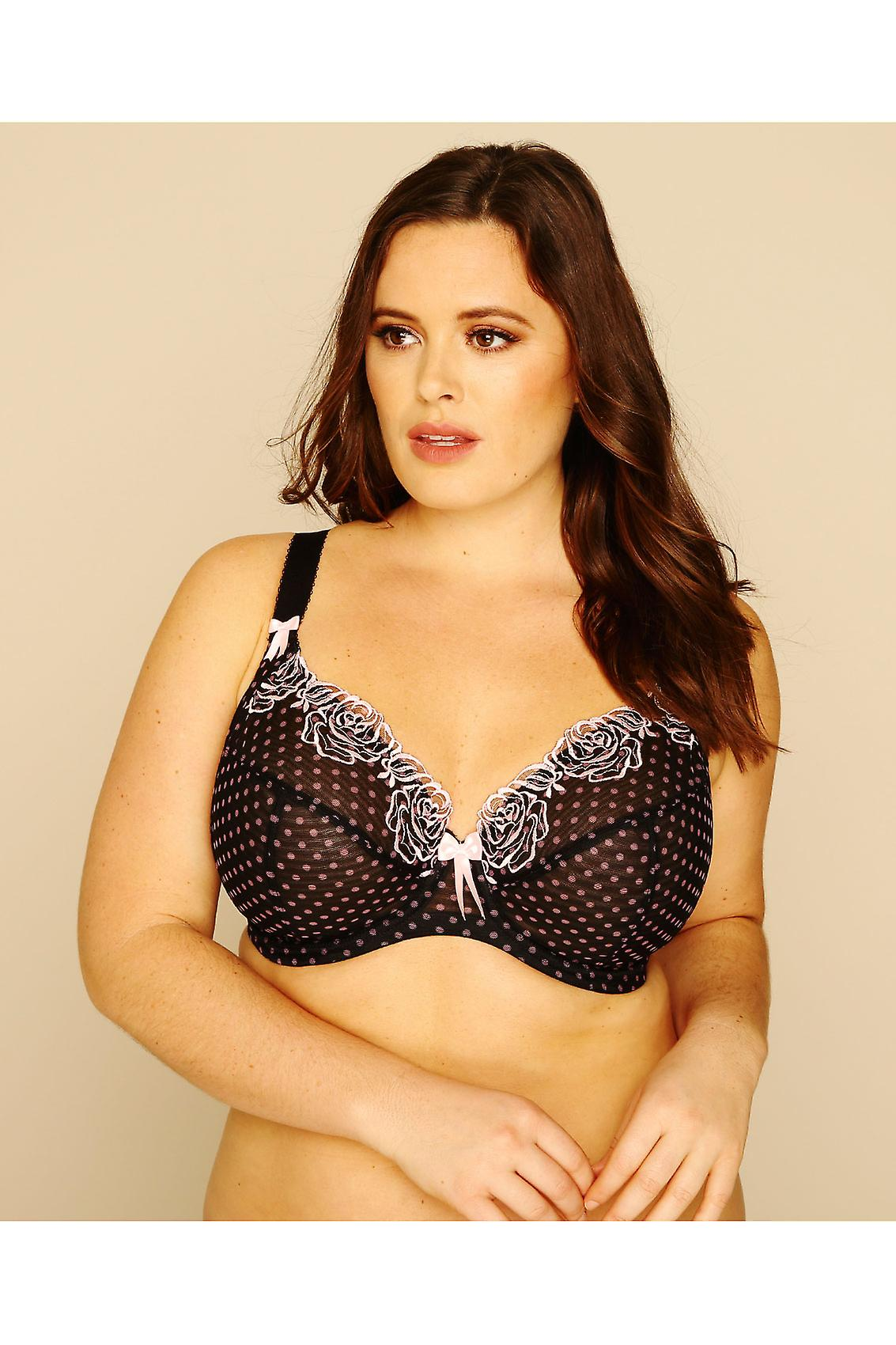 ELOMI Black And Pink Polka Dot Underwired Plunge Betty Bra