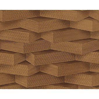 3D motif papier peint effet bois géométrique blocs de pâte brun foncé mur vinyle