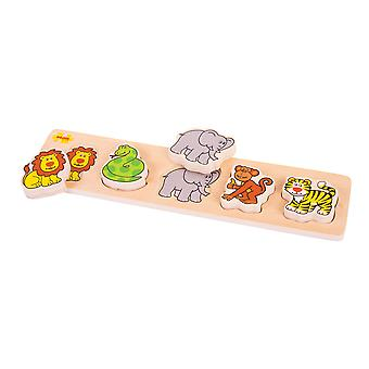 Bigjigs Toys Chunky Lift Out and Match Children's Kids Puzzle Game (Safari)