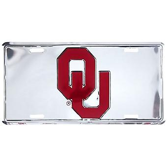 Oklahoma Sooners NCAA Silver Mirror License Plate