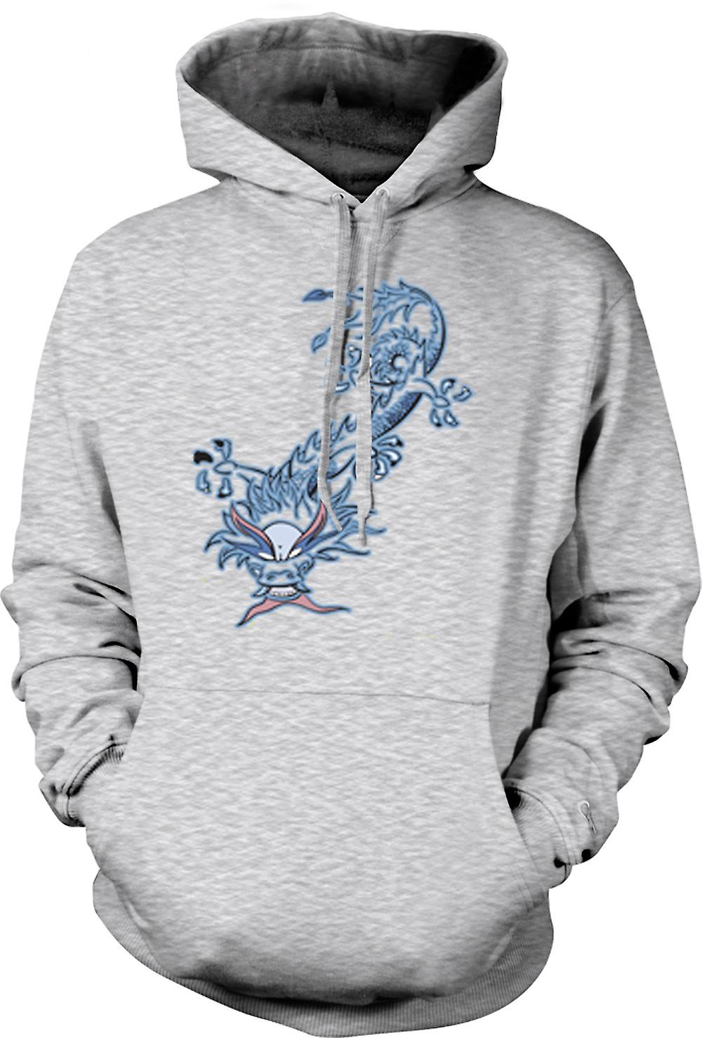 Mens Hoodie - Oriental Dragon Tribal