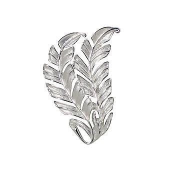 Eternal Collection Fern Silver Tone Leaf Brooch