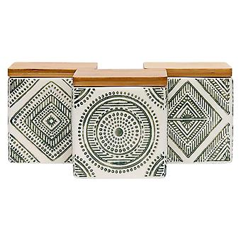 Ladelle Noah Aztec Green Set of 3 Canisters