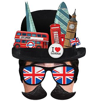 London Tourist Bowler Hat Single 2D Card Party Half Face Mask