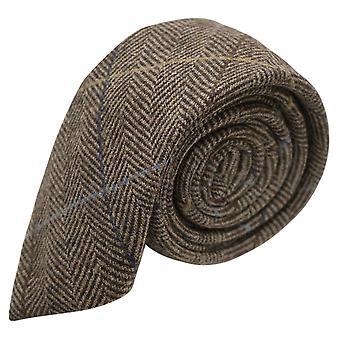 Luxury Walnut Brown Herringbone Check Tie, Tweed