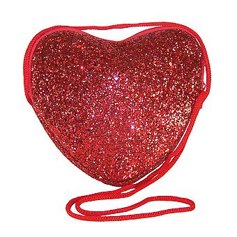 Girls red glitter heart over body bag