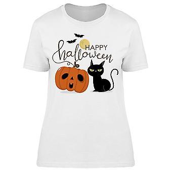 Halloween Cat Lettering Tee Women's -Image di Shutterstock