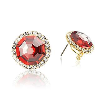 14K Gold Plated Ruby Red Clip Earrings