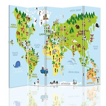 Room Divider, 5 Panels, Double-Sided, 360 ° Rotatable, Canvas, Map Of The World For Children