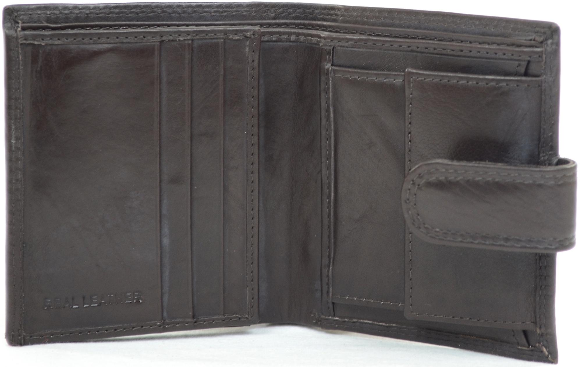 Mens Leather Bi-Fold Credit Card / Money / Coin Wallet - Dark Brown