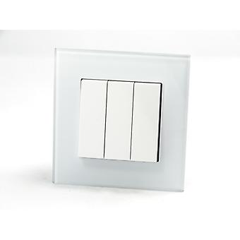 I LumoS AS Luxury White Crystal Glass  Single Frame Rocker Light Switches