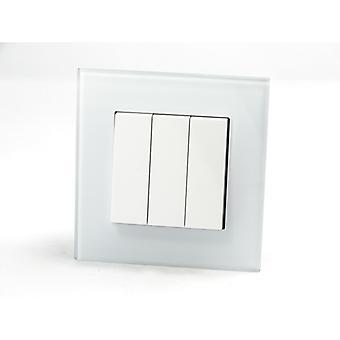 Olen LumoS AS ylellinen valkoinen Crystal Glass yhden kuvan rokkari valokatkaisijat