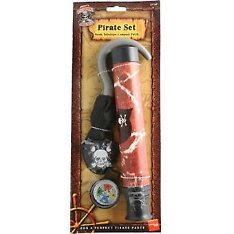 Smiffys Pirate Set With Hook Brown Telescope Compass And Eyepatch (Costumes)