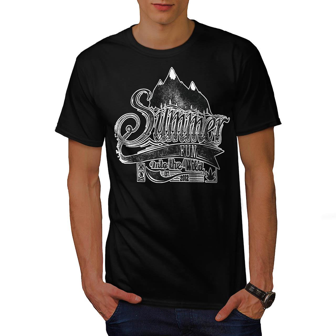 Summer Fun Into Wild Camping Kit Men Black T-shirt | Wellcoda