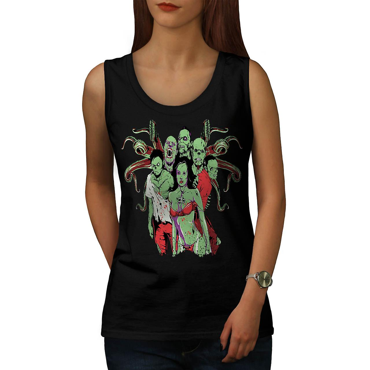 Team Zombie Dead Gang Eat Flesh Women Black Tank Top | Wellcoda