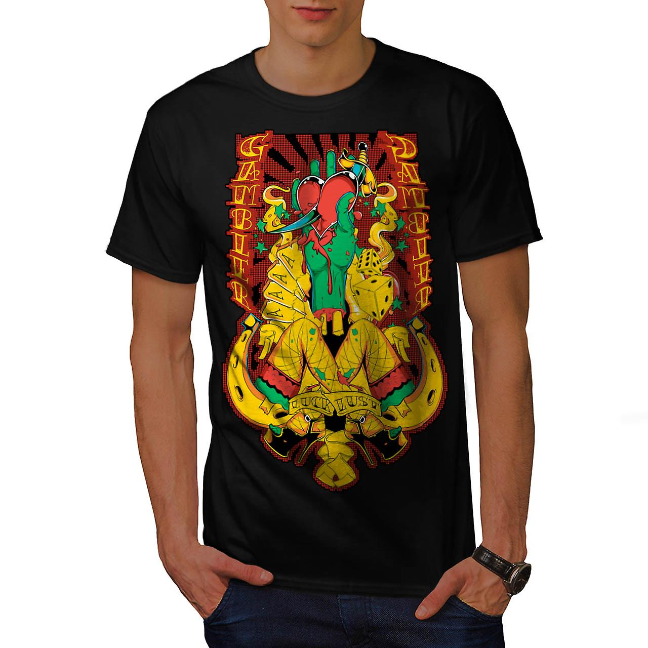 Gamble Heart Sexy Casino Aces Card Men Black T-shirt | Wellcoda