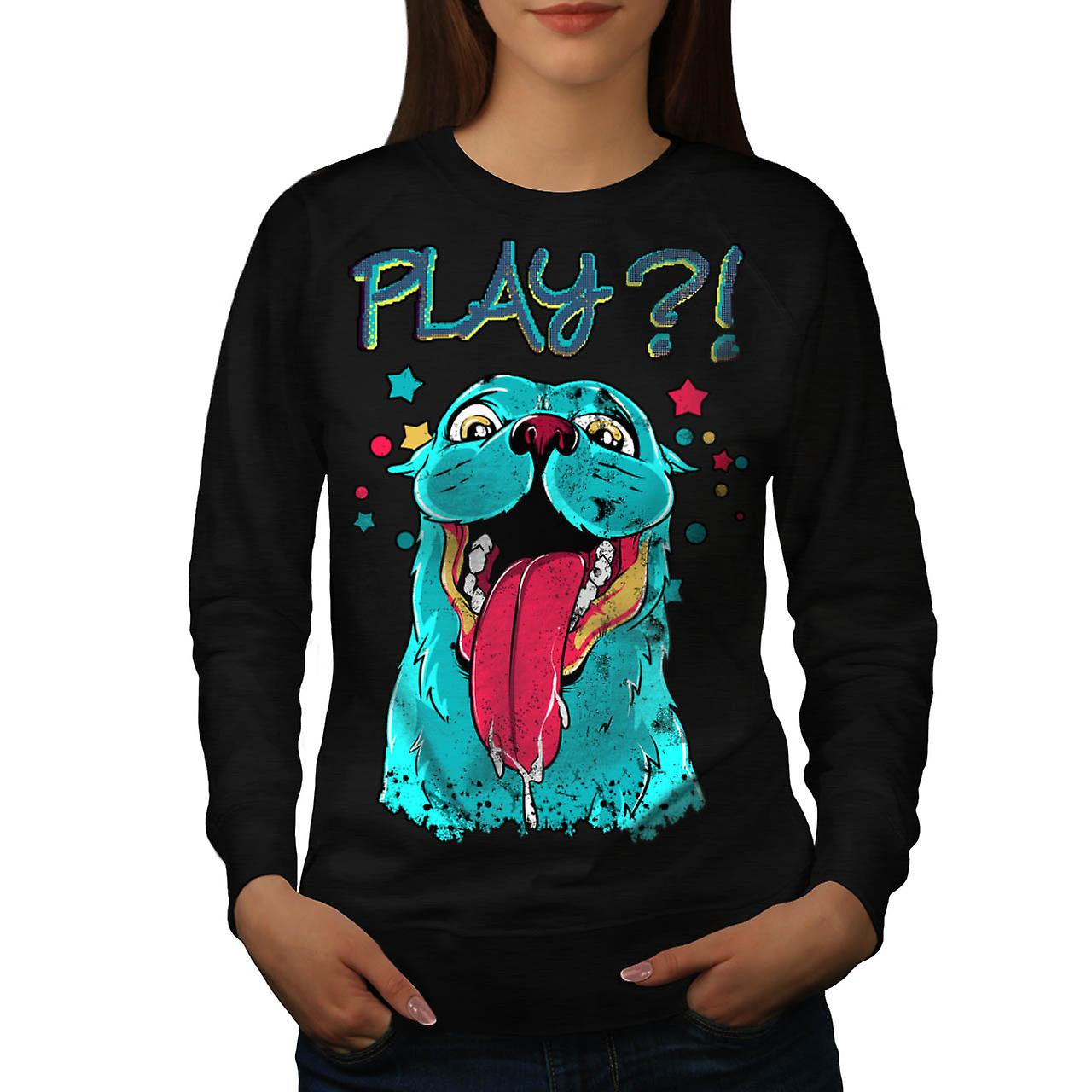 Play Dog Puppy Love Crazy Pug Women Black Sweatshirt | Wellcoda