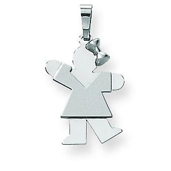 14k White Gold Small Girl Bow on Right Engraveable Charm - 1.5 Grams