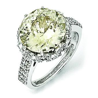 Sterling Silver CZ Canary Ring - Ring Size: 6 to 8