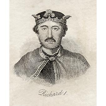 Richard I Aka Richard The Lionheart King Of England 1157-1199 From The Book Crabbs Historical Dictionary Published 1825 PosterPrint