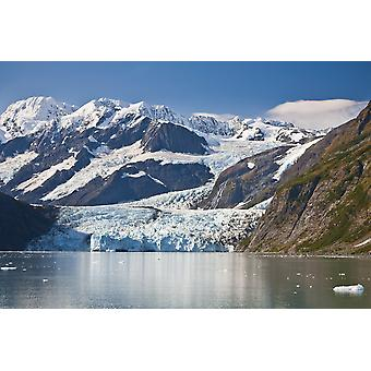 Vacker utsikt över trappa Glacier (R) flödar i överraskning glaciären från Chugach Mountains och sedan till överraskning inlopp i Harriman Fjord Prince William Sound sydcentrala Alaska PosterPrint