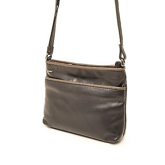 Berba Soft cross-over zipper bag 005-330 black/Taupe