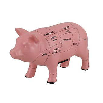 Pink Ceramic Pig Shaped Coin Bank Butcher Chart Piggy Bank 4 in.