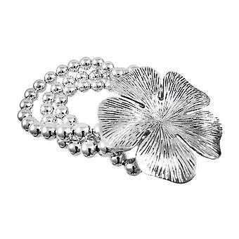 Chrome Hibiscus Flower Silver Bead Stretch Bracelet