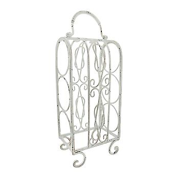 Decorative White Metal Tabletop Wine Rack