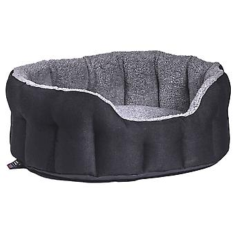 Premium Heavy Duty Oval Drop Front Softee Bed Basketweave Black/grey Size 3